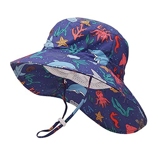 JUPSK Sombrero de Pescador para niños,Sombrero Unisex de ala Ancha para el...