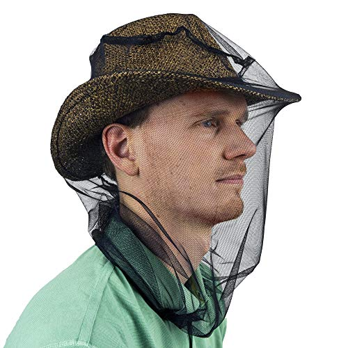 Mosquito Head Net for Insect, Fly & Bug protection - Quality Mesh Netting for Travel, Camping, Gardening, Safari & Fishing - Fits All Type of Hats for Men & Women
