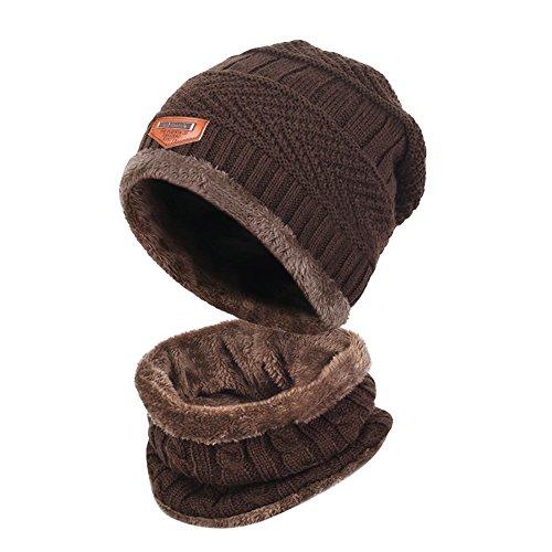 Zenoplige ニット帽 ネックウォーマー キャップ セット 暖かい 裏起毛 防寒 保温 自転車 バイク スキー スポーツ アウトドア 冬 メンズ レディース (ブラウン)