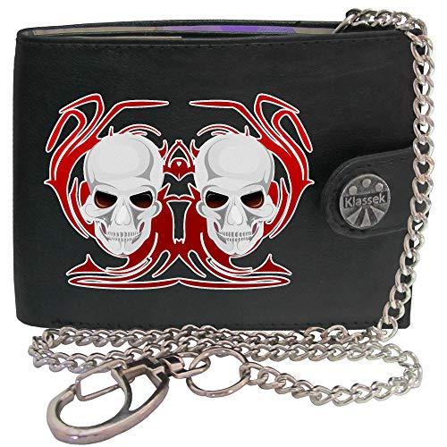 Schädel weiße Rote Flammen Voodoo Todes Maske Bild auf Herren Kette Geldbörse Portemonnaie KLASSEK Marken Echtes Leder RFID Schutz mit Münzfach Zubehör Geschenk mit Metall Box