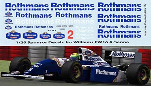 1/20 Rothmans F1 Fujimi Williams FW16 Ayrton Senna Decals TB Decal TBD70