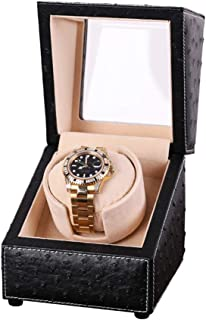 MENG-DuDu Automatic Single Watch Winder Case for Rolex with Quiet Motor,Premium Ostrich Leather Exterior and Soft Flexible Watch Pillows (Black)