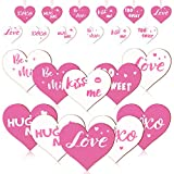 Jetec 36 Pieces Heart Shaped Wooden Hanging Ornaments Valentines Heart Shaped Embellishments Love Wooden Heart Shaped Signs for Valentine's Day Wedding Party (White, Pink)
