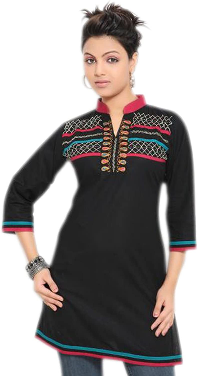 1545 Designs Women's Plus Size Black Tunic Multi color Embroidered Top