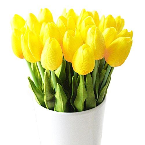 Turelifes - tulipani artificiali a stelo singolo, sembrano veri al tatto, in poliuretano, bouquet di tulipani per la decorazione della casa, 10 pezzi Yellow