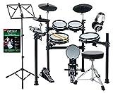 XDrum DD-530 Mesh Heads E-Drum Beginner Set - Dual-Zone (Rim/Center) Mesh Drum Pads - 45 Drumkits, 400 Schlagzeug-Sounds - Lernmodus - mit Hocker, Kopfhörer, Schule und Notenständer