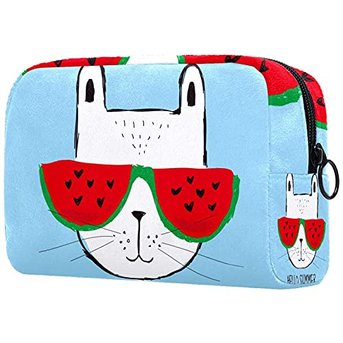 Hello Summer Cat 18.5x7.5x13cm with black Zipper Portable Travel Toiletry Bag Cosmetic Organizer Multifunctional Handmade Bag for Women