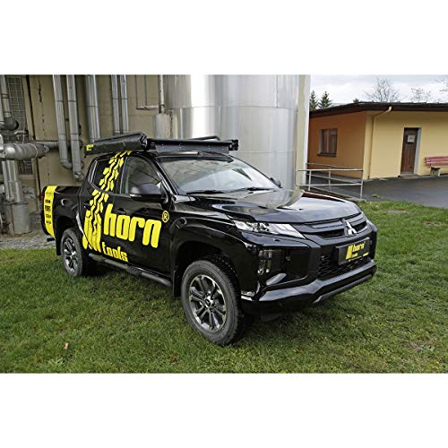 horntools Dachträger NAVIS Mitsubishi L200 flach Alu schwarz optional mit Reling by Offroad 4x4 Dachzelt