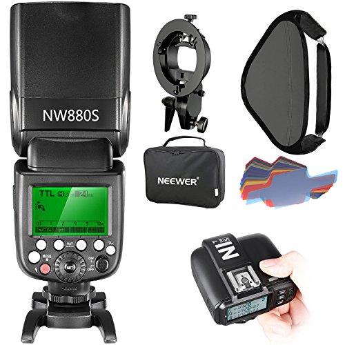 Neewer Kit Fotografico per Fotocamere Sony, Inclusi: NW880S Flash Wireless 2,4G HSS 1 8000s TTL Master Slave Speedlite, N1T-S Trigger, Staffa S, 40x40cm Softbox, 20 Filtri Colorati