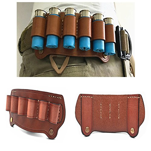 FIRECLUB Tactical Cowhide Leather Hunting Magazine Pouch 6 Shots 12 Gauge Ammo Bag Shell Holder Cartridge Belt