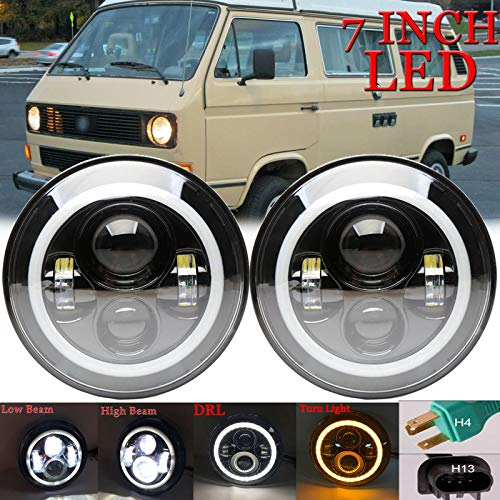 Round Headlight For Volkswagen Vanagon 7inch LED Headlights High/Low Beam Conversion Kit Super Bright with DRL Halo Ring Angel Eyes H4 to H13 Plug and Play -  Huni, 7inch75W2 HN US-1