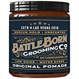 Battle Born Grooming Co Original Pomade (Unscented, 4 oz) | Medium Hold | Low Shine | Natural Ingredients | Water Based