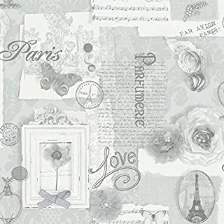 Arthouse Felicity Silver Wallpaper for Living Spaces & Feature Walls, 53 cm x 10.05 m Roll, 665401, Full Roll