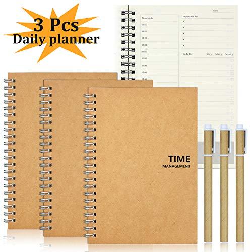 aovowog Bloc de notas con planificador diario manual de gestión del tiempo lista de tareas cuaderno, 100 páginas, 50 hojas, 19 x 13 cm, para mejorar tus objetivos, 3 unidades
