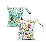 Baby Reisen Windeltasche Miyanuby Wickeltaschen für Nasse und Trockene Kleidung Reißverschluss Wasserdicht Waschbar Nasstaschen 2 Stück/Set