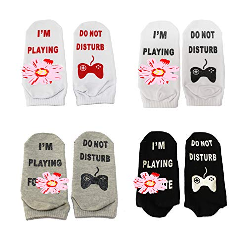 4 Pair Funny Ankle Socks - 'Do Not Disturb' I'm Playing Fe' -Great Gift for Fote Gamer Lovers,Birthday,Anniversary