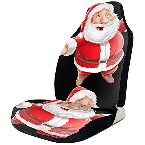 Happy Santa Claus Autostoelhoezen, 2 stuks, bedrukte autostoelhoezen, autostoelhoezen, geschikt voor de meeste auto's, vrachtwagens, SUV's of Van