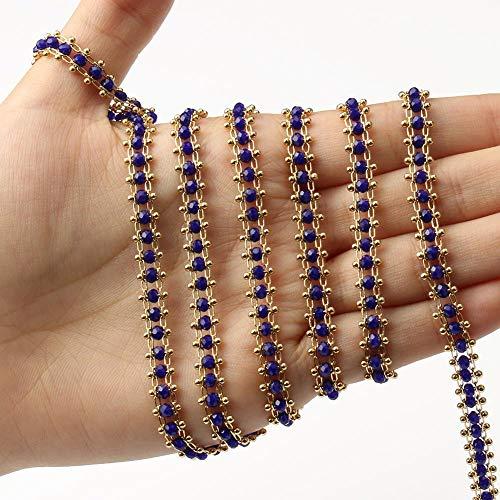 SS01 1M hecho a mano de color oro de acero inoxidable con alambre envuelto rosario facetado cadena de cuentas para pulseras, collares, tobillos, fabricación de joyas YC0407 (color: azul oscuro)