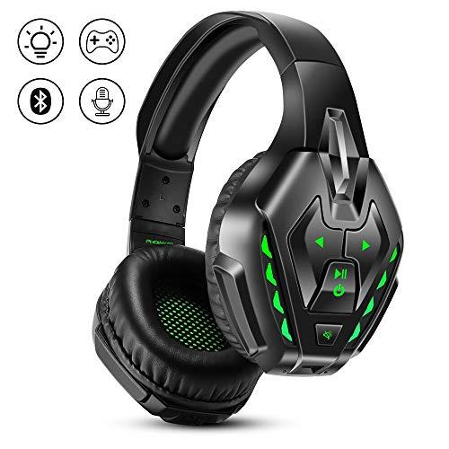 PHOINIKAS Headset PS4, Gaming Headset für Xbox One, PC, Wireless Bluetooth Headset mit 7.1 Bass Surround, Noise Cancelling-Mik Wired Kopfhörer für Spiele, LED Light, 40H-Spielzeit - Green
