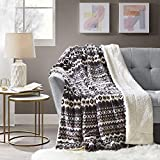 Comfort Spaces Sherpa for Couch and Bed, Plush Fleece Reversible Throw-Blanket with Fuzzy Faux FurThrows, 50x60, fair isle Grey