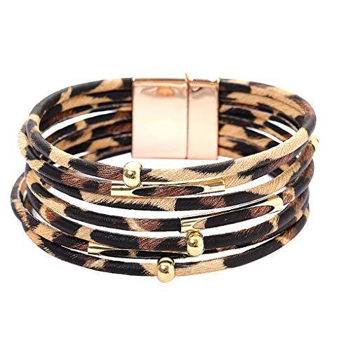 Skxinn Schmucksache Geschenk für Frauen/Leopard-Armband-Art- und Weisetrendy magnetisches mehrschichtiges Sexy-Damen-Kunstlederarmband(Braun,19.5×2cm)