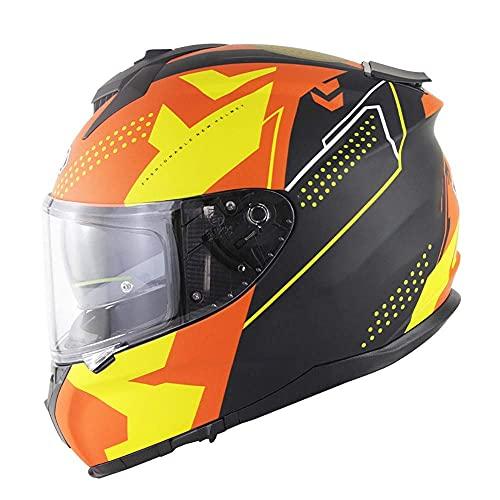 Moto Motocicleta de Cara Completa Doble Visera Todoterreno Protector de Choque sólido ABS marterial para Hombres Adultos Mujeres