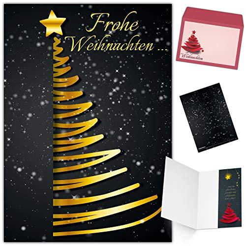 Weihnachtskarten mit Umschlag (15er Set) EDLER WEIHNACHTSBAUM - Klappkarten ideal privat und geschäftlich - Frohe Weihnachten Karten von BREITENWERK