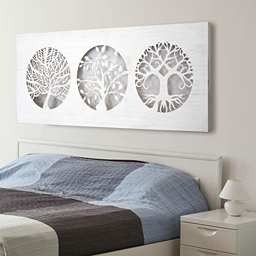 Mandala de Pared Calada, Fabricada artesanalmente en España- Mandala 3D Cuadrada Pintada a Mano- Modelo Mosaico 162 (Blanco Envejecido, 60X150)