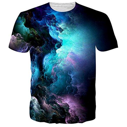 NEWISTAR Unisex Jugend 3D Druck Grafik Casual Kurzarm T-Shirt , Kaffee, XL