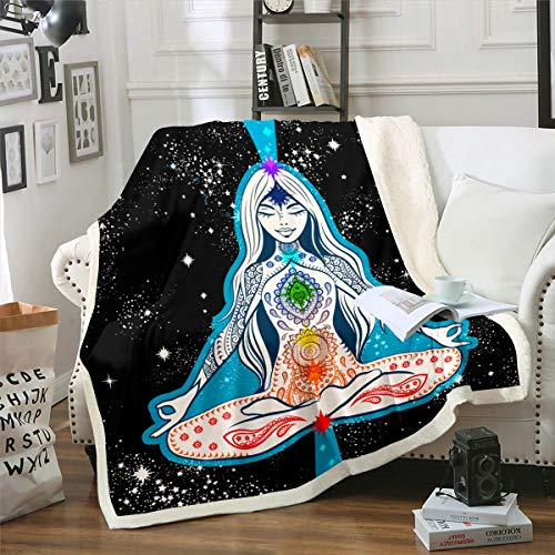 Castle Fairy Buddha Statue Sherpa Fleece Blanket Throw Starry Sky Yoga Chakra Throw Blanket for Couch Bed Spirituality Medatition Luxury Softest 90'x90'