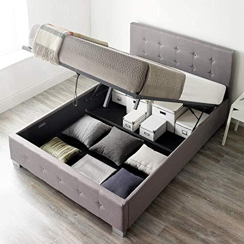 MMPTN Betten Gepolstertes Lagerhaus In Grauen, Schwarzen Oder Natürlichen Leinenstoffe,Grey-150x200cm