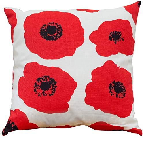 Linnen Loft Heldere Rode Poppy Kussen. Dubbelzijdig 17x17 (43cm). Vet Bloemenprint Kussen. 100% katoen.