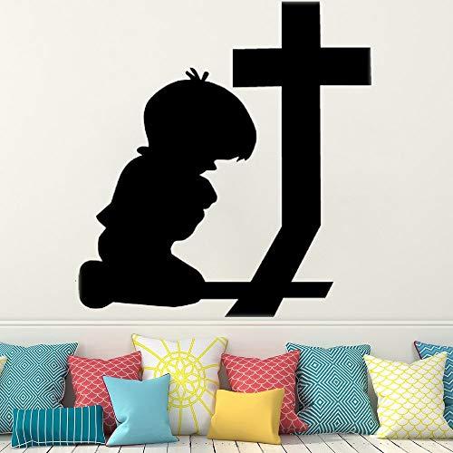 AQjept Decoración de la habitación de los niños Pegatinas religiosas Vinilo jardín de Infantes Iglesia casa calcomanía decoración para niños orando Pegatinas de Pared cruzadas42x46cm