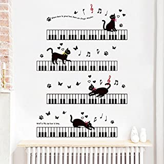 BIBITIME Black Cat Piano Keyboard Wall Decal Music Notes But