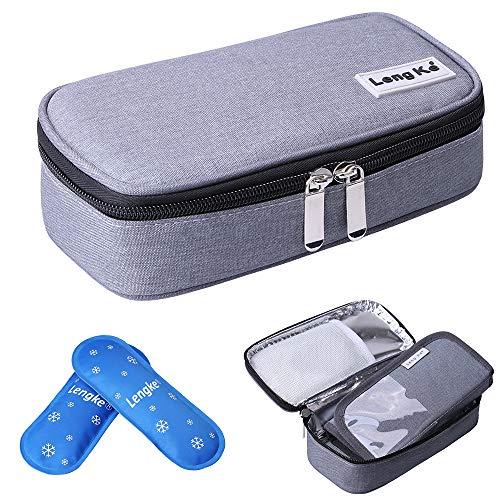 JAKAGO Insulin-Kühltasche, wasserdicht, tragbar, für Diabetiker, medizinischer Organisationstasche mit 2 Kühl-Isolierfolien, für Insulinspritzen, Stifte, Vialen, Glukosemessgerät