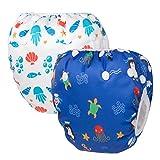 HBLIFE 赤ちゃん水着2点セット水遊びパンツ サイズ調節可能 防水外層 ポリエステルメッシュ内層 オムツカバー スイミング教室・公園・海水浴・温泉旅行・出産お祝いプレゼント (ブルー+白い)