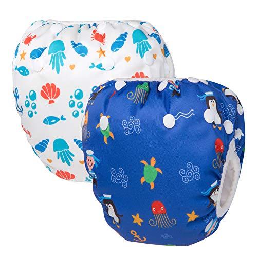 HBselect Baby Schwimmwindeln Kinder Schwimmhose wiederverwendbare wasserdichte Windeln Badewindelhose Badehose verstellbare Größe für 0-24 Monate (Penguin & Coral)