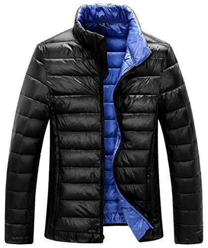 ZSHOW Men's Lightweight Packable Down Jacket Stand Collar Windbreaker Winter Coat(Black,XX-Large)