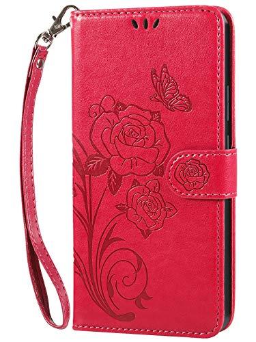 Vinanker Cover per iPhone 6/iPhone 6S, Flip Cover in Pelle Premium Portafoglio Custodia per iPhone 6/iPhone 6S (Rosso)