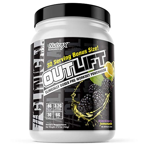 Nutrex Research Oulift Bonus Size | Clinically Dosed Pre-Workout Powerhouse, Citrulline, BCAA, Creatine, Beta-Alanine, Taurine, Banned Substance Free |30 Servings (BlackBerry Lemonade)