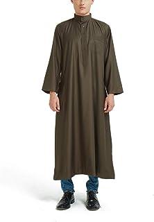 GaoYunQin Homme Robe Hommes Musulmans Robe Longue, Col Montant Ramadan Islamique Moyen-Orient Arabie Saoudite Robe Longue ...