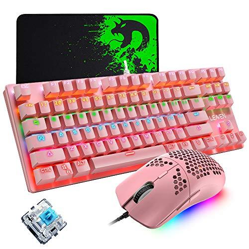 Tastiera da gioco meccanica, mouse da gioco programmabile ultraleggero 12000 DPI, set di tappetini per mouse, tastiera rosa cablata 87 tasti, retroilluminazione RGB, per gioco o lavoro