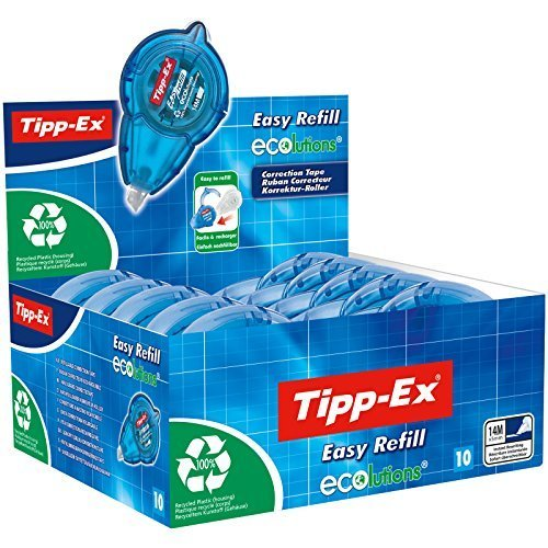 Tipp-Ex Korrekturroller Easy Refill ECOlutions, nachfüllbare Kassette, 14m x 5mm, 10er Pack, Ideal für das Büro, das Home Office oder die Schule
