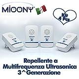 MIOONY Repellente Ultrasuoni Anti Zanzare a Multifrequenza di 3a Generazione Contro Topi Cimici Insetti Ragni Formiche Mosche Scarafaggi Dispositivo Sicuro per Cani Gatti Bambini e Neonati