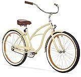 sixthreezero Women's 1-Speed 26-Inch Beach Cruiser Bicycle, Scholar Cream w/Brown Seat/Grips