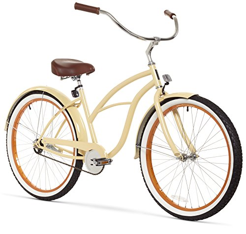 sixthreezero Women's 1-Speed 26-Inch Beach Cruiser Bicycle, Scholar Cream w/Brown Seat/Grips