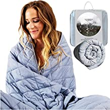"""sSnooze Weighted Blanket 15 Pounds - 48"""" x 72"""" Heavy Blanket for Adults and Kids - 100% Organic Cotton with Premium Glass Beads - Weighted Blanket Queen and Twin Weighted Blankets"""