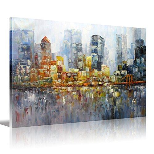 Brooklyn puente moderno de arte pared arte pintura al óleo láminas sobre lienzo estirada listo para colgar en lienzo para decoración de hogar oficina dormitorio 12 x 16 pulgadas (los 30x40cm) 1pc