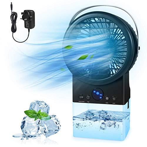 Ventilador de aire acondicionado portátil, ventilador de refrigerador de aire de espacio personal, diseño de manija de diseño medio evaporativo refrigerador, temporizador 3 velocidades Humidificador d