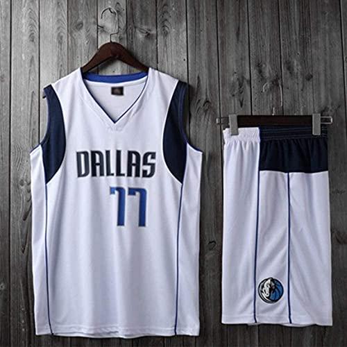 Ropa Trajes de baloncesto para niños, Dallas Mavericks # 77 Luka Doncic NBA chalecos casuales camisetas Camisetas de baloncesto Tops deportivos Chalecos deportivos + pantalones cortos, blanco, 2x (niñ